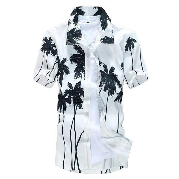 Tree Printing Loose Casual Dress Shirts Mens Aloha Beach Quick Dry Coconut