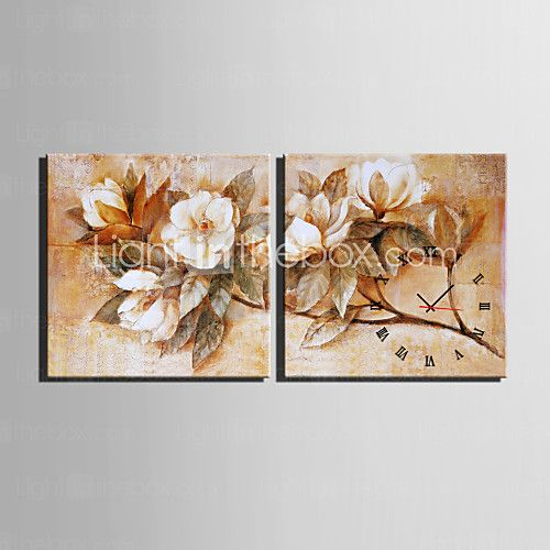 Kvadrat Moderne / Nutidig Wall Clock , Andre Lerret40 x 40cm(16inchx16inch)x2pcs/ 50 x 50cm(20inchx20inch)x2pcs/ 60 x - NOK kr322