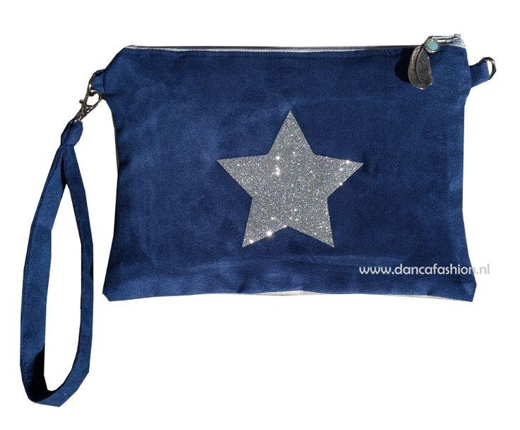 Clutch donkerblauw/zilver met zilveren glitter ster