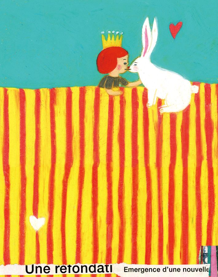 Impossible love between a redhead Princess and a white rabbit. Children illustration by Keiko Shibata #kiss - Carefully selected by GORGONIA www.gorgonia.it