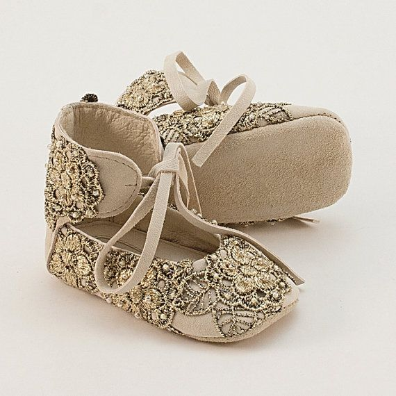 Leather baby shoes with golden lace by Vibys on Etsy, $55.00