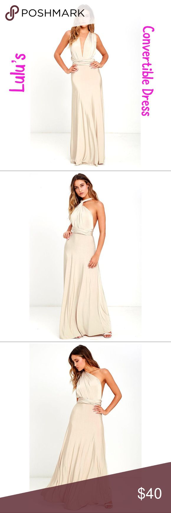 """Always Stunning Convertible Beige Maxi Dress Bought for a wedding and ending up not wearing it. Amazing versatile dress. Two, 83"""" long lengths of fabric sprout from an elastic waistband and wrap into dozens of possible bodice styles. Stretchy beige fabric has a satiny sheen. Linen to mid-thigh. Brand new! Lulu's Dresses Maxi"""