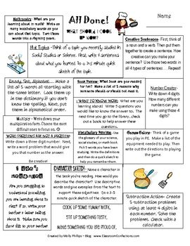 list of activities your students can do when they are finished with their work.