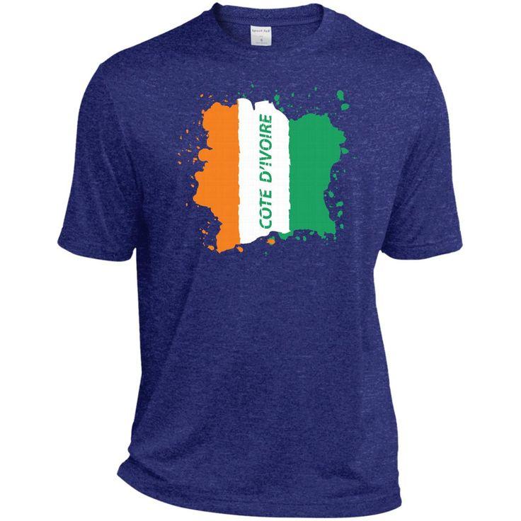 Ivory Coast Coat Of Arms T Shirt National Cote d'Ivoire-01 ST360 Sport-Tek Heather Dri-Fit Moisture-Wicking T-Shirt
