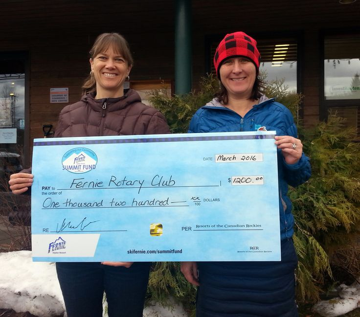 The Fernie Alpine Resort Community Summit Fund matched the Rotary Club's annual fundraising efforts for the Fernie Food Bank for $1200.