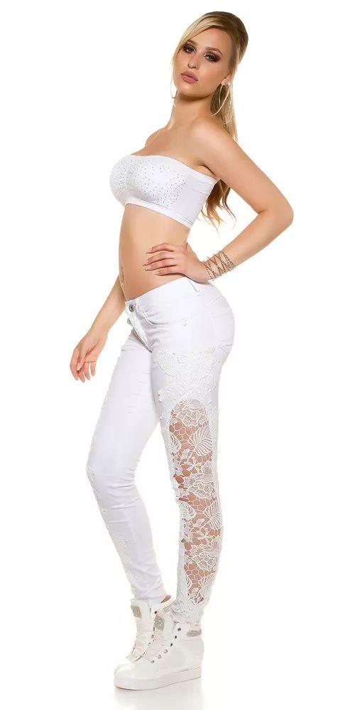 Bílé džíny s krajkou