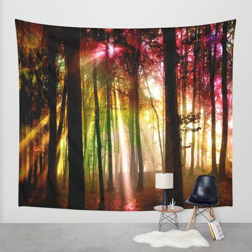 Light beams wall tapestry by haroulita