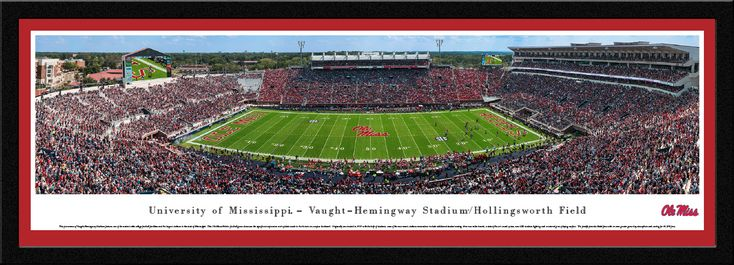Ole Miss Rebels Mississippi Football Panorama - Vaught-Hemingway Stadium Panoramic Picture - Select Frame $149.95