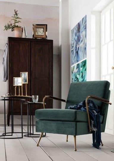 Einzelsessel Gamble Samt ♡ Wohnklamotte Pinterest - wohnzimmer einrichten grun