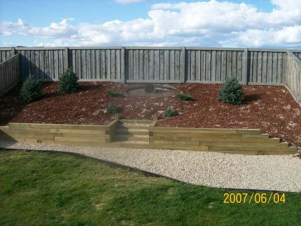 Landscape Sloped Backyard Pictures | This slope was covered with landscape fabric and planted with some ...