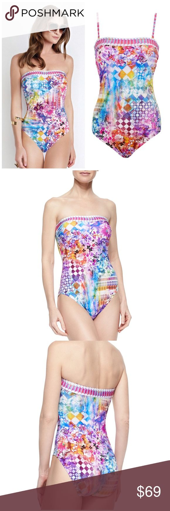 GOTTEX IMPRESSIONS BANDEAU ONE PIECE SWIMSUIT 16 Sizzle on your next exotic getaway 🌞 in this Gottex Impressions swimsuit. $182 retail price brand new with tags DETAILS Covered in a vibrant print, this eye-catching one piece features removable and adjustable shoulder straps, a bandeau neckline and soft padded cups for a supportive finish. Perfect for stylish sun-seekers, pair it with oversized shades for instant poolside glamour. 72% polyamide, 28% elastane. Hand wash. Gottex Swim One…