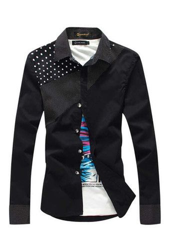 Stylish Dot Print Splicing Design Long Sleeve Fitted Shirt For Men – teeteecee - fashion in style