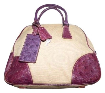 98a1054599a3e6 Prada Mint Vintage High-end Bohemia Bowling Bag/Satchel Has Lock Key Tag Accents  Satchel in beige canvas and purple ostrich leather