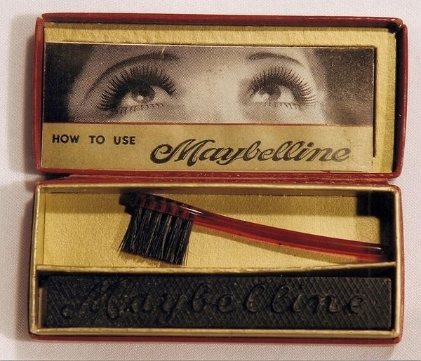 Mascara, 1917...but I used it in the 1950's and bought it at a department store.  The brush had to be wet, then brushed over the mascara.  Girls often used saliva.