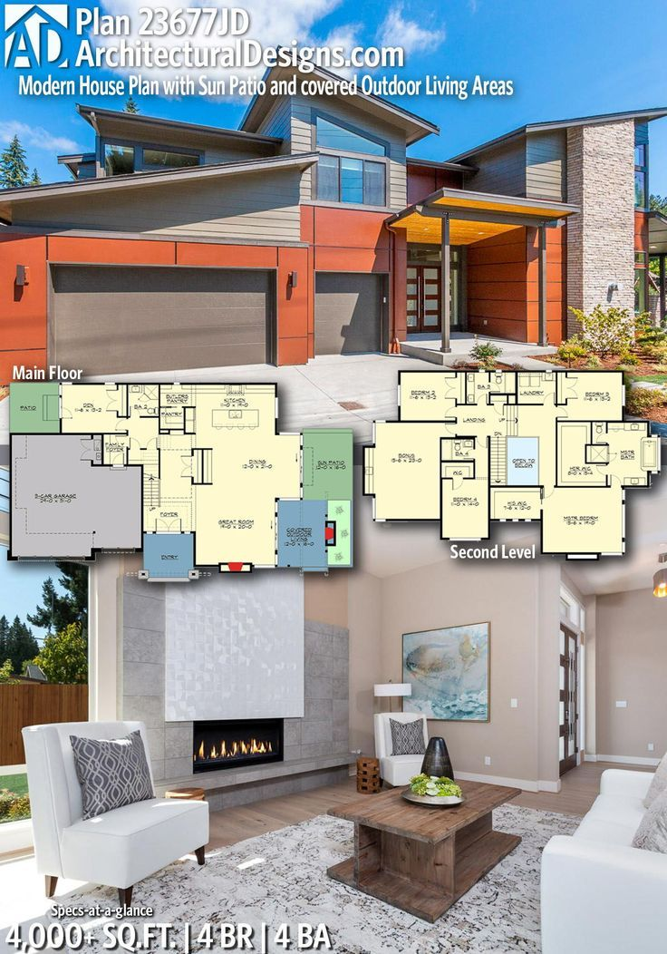 Modern House Plans Architectural Designs Home Plan 23677jd Gives You 4 Bedrooms 4 Baths And 4 000 Dear Art Leading Art Culture Magazine Database House Plans Contemporary House Plans Home Design Floor Plans