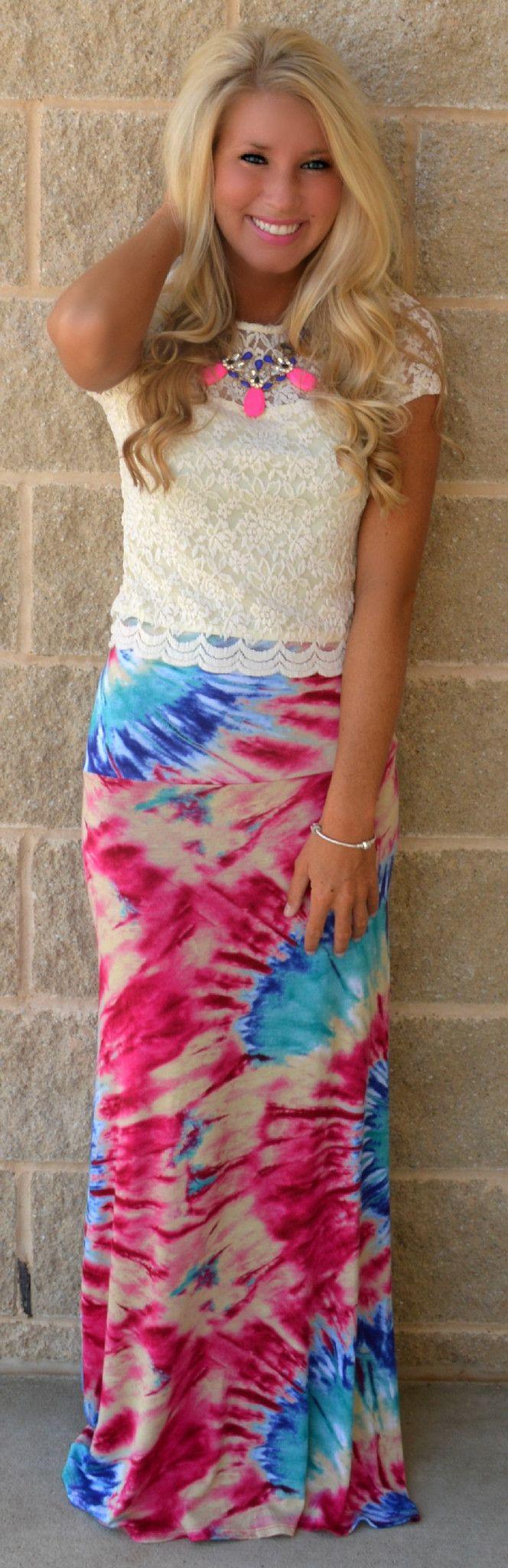 La Vida Loca Tye Dye Maxi Skirt Haute Pink Boutique