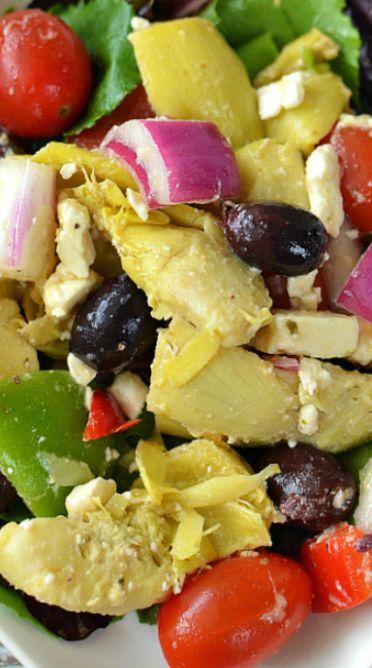 Made with artichoke, cherry tomato, broccoli, and greek olive vinegarette from aldi...no onion or cheese or olives