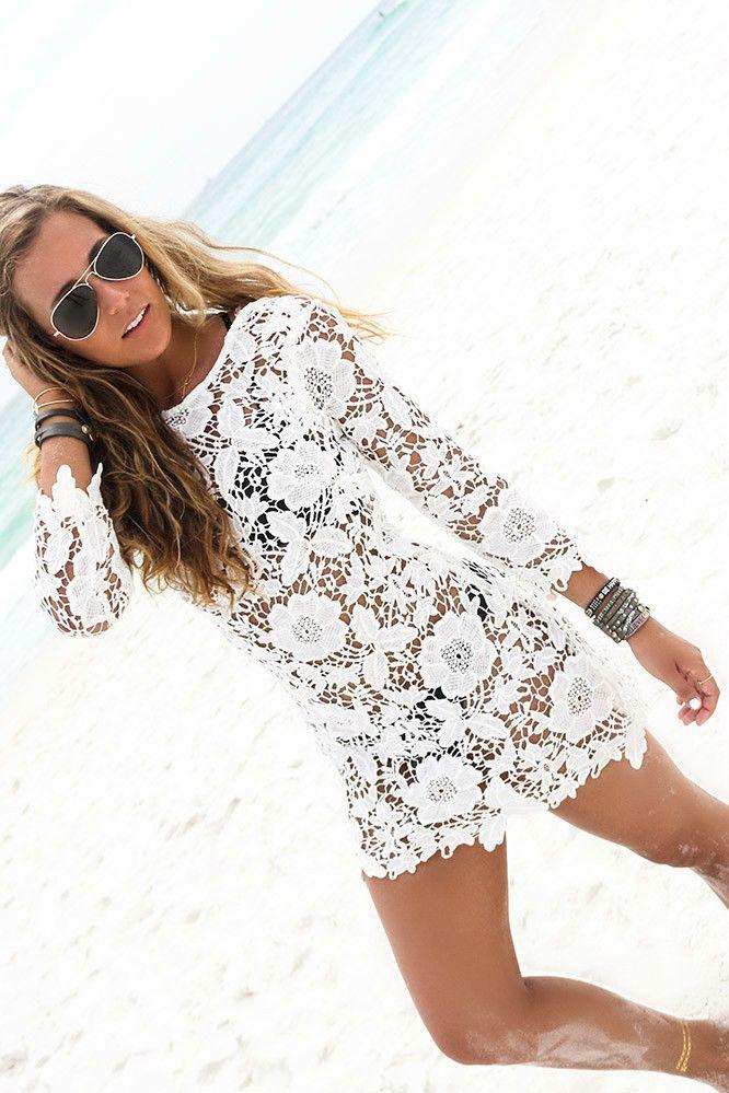 2015 moda de nova mulheres maiô Sexy Lace Crochet biquini Cover Up Beach Dress…
