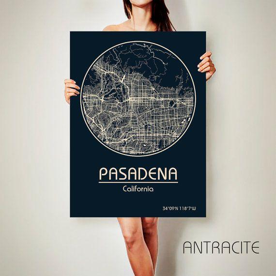 PASADENA California Map Pasadena Poster City Map Pasadena California Art Print…