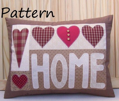 PATTERN - Prim Linz Country Applique Hearts & Home Cushion Pattern | eBay