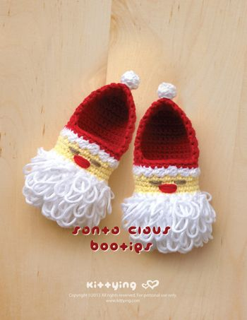 Santa Claus Baby Booties Crochet PATTERN for Christmas Winter HolidaySanta Claus Baby Booties Crochet PATTERN for Christmas Winter Holiday by Kittying.com / mulu.us