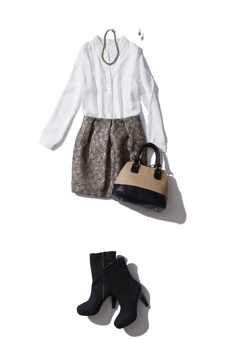 ジャカード素材のレオパードスカートをスキッパーブラウスでほんのりセクシーに。http://bistroflowers.com/products/detail_1783_183_0.html