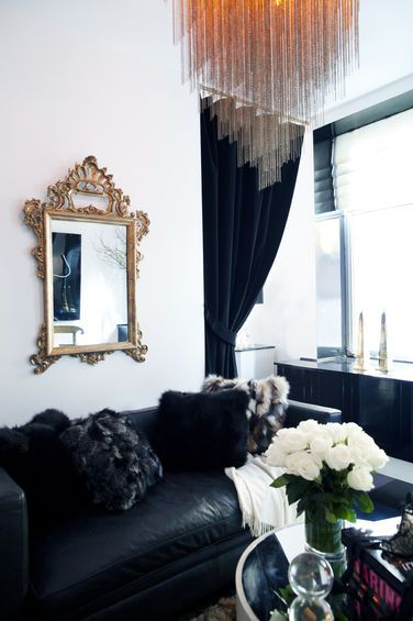 Mixing styles // fur pillows, antique mirror: Living Rooms, Gold Mirror, Antiques Mirror, Black Sofas, Antique Mirrors, Fur Pillows, Mixed Style, Small Spaces, Mixing Styles