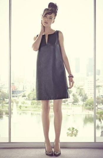 Love this faux leather sheath dress & leopard print pumps!