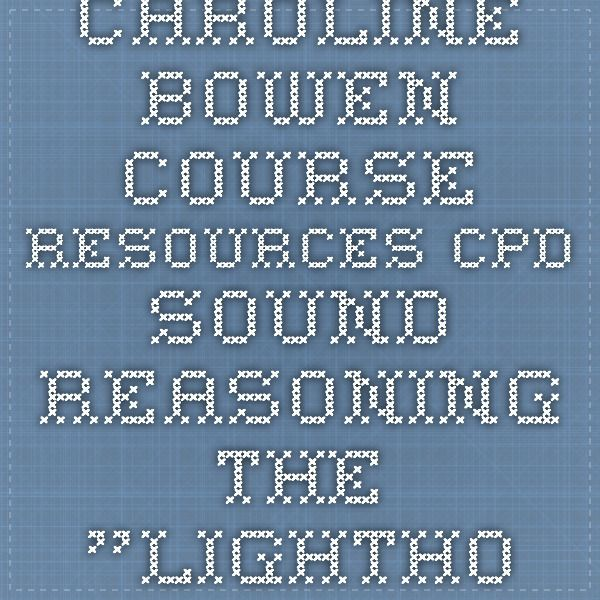 """Caroline Bowen course resources CPD - Sound Reasoning - the """"Lighthouse Page"""""""