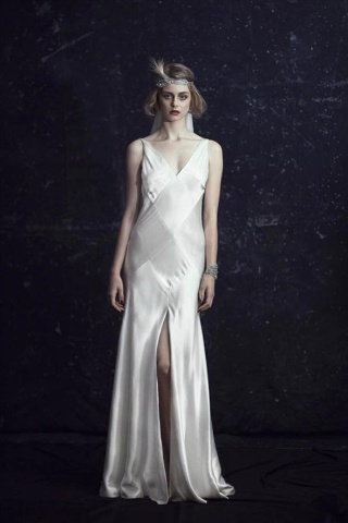 Johanna Johnson Art Deco gown is silky and chic, the 1920s bob and headband complete the look Xx