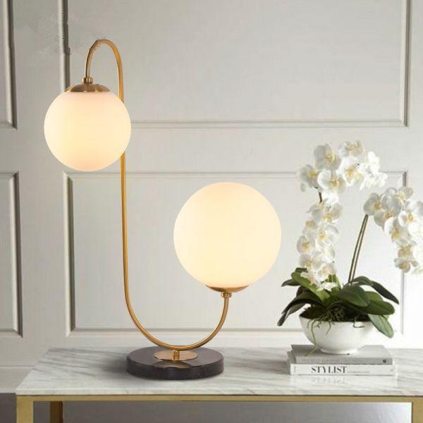 2 Lights Table Light Post Modern Black Table Lamp With Globe Glass Shade For Living Room In 2020 Modern Table Lamp Modern Black Table Lamps Living Room Lighting