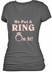 "BRIDE BACHELORETTE ""HE PUT A RING ON IT"" V-NECK T-SHIRT"