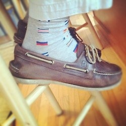 Sperrys with some awesome nautical socks.