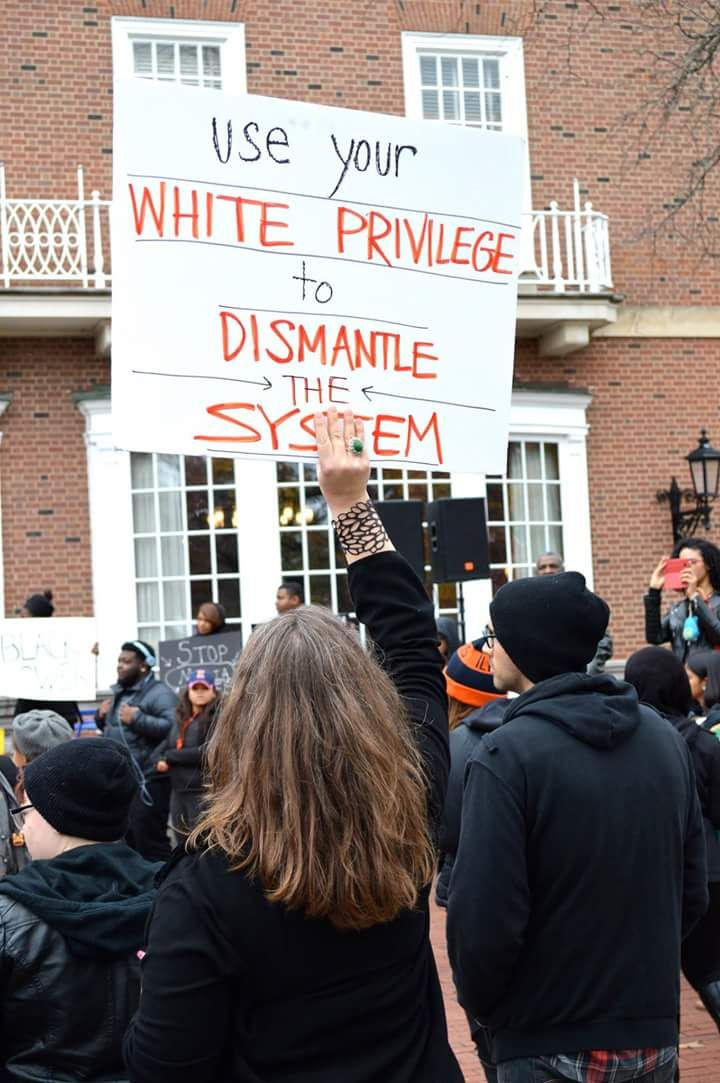 """""""Use your white privilege to dismantle the system"""" - Follow this link to find a film that explores racial inequality and white privilege: http://www.thesociologicalcinema.com/videos/dismantling-white-privilege  Photo credit: Does anyone know who took it, and what when it was taken?"""