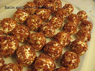 Mini cheese balls! 2 pkg of Cream Cheese, 1 cup of shredded sharp cheddar, 1/2 cup chopped green onion.  Mix together then roll into individual balls and then roll in cooked, crumbled bacon.  Return to fridge to set then serve. YUM!!