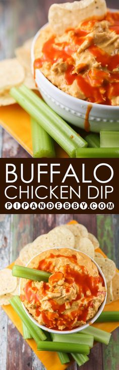 Crockpot Buffalo Chicken Dip | The most delicious marriage ever! Buffalo sauce + dip. Great for parties!