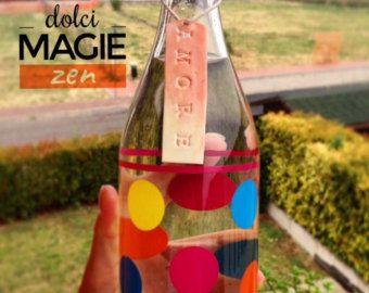 Set di 6 etichette per bottiglia acqua, cura della persona, ceramica sintetica, benessere, zen, idea regalo
