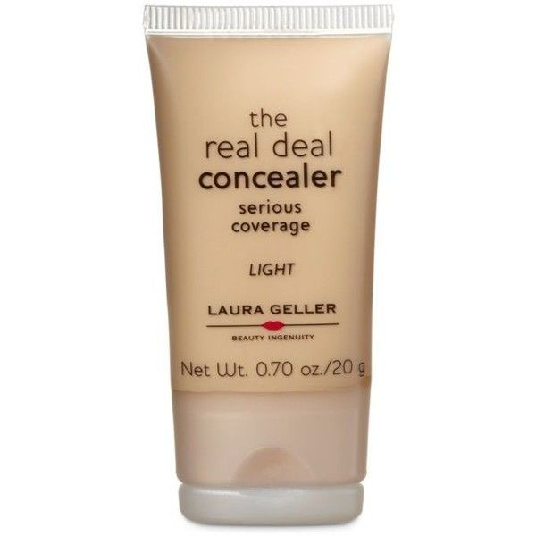 Laura Geller  Real Deal Concealer ($22) ❤ liked on Polyvore featuring beauty products, makeup, face makeup, concealer, light, laura geller, laura geller concealer and oil free concealer