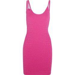 Croc-jacquard stretch-jersey mini dress