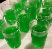 Sour Apple Jello Shots-  1 cup DeKuyper® Sour Apple Pucker schnapps  1 package green apple jell-o  1 cupboiling water    Mix the boiling water with a package of green apple jell-o. Allow the jell-o to dissolve for 1 minute. Add chilled DeKuyper Sour Apple Pucker schnapps; stir until well combined. Pour into 1-oz disposable shot glasses which can be found at most party and food supply stores. Refridgerate for several hours until jell-o sets. Makes about 20 shot-sized servings.