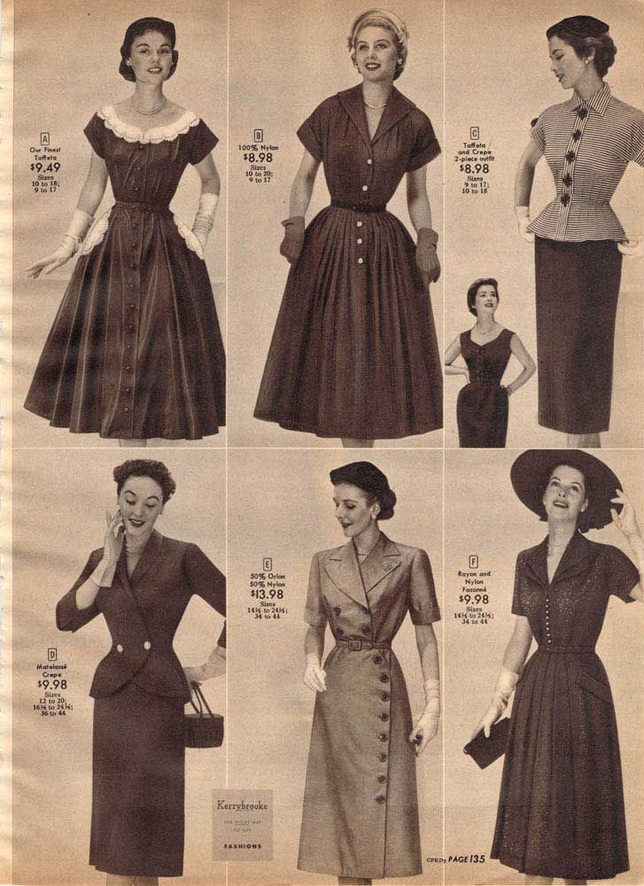 The body shape to be desired by women was an hourglass figure, or a thin waist but defined hips. Dresses of the day reflected this in their patterns. In addition, though some dresses had large, pleated skirts, others were becoming slimmer and more form fitting. Dresses and skirts of the day were also slightly shorted than in previous times.