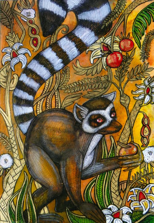 ring tailed lemur painting by Lynette Shelley www.lynnetteshelley.com