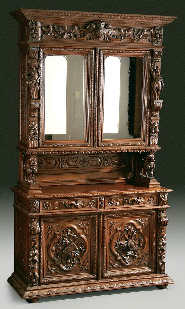 A fine swiss carved quot black forest oak sideboard