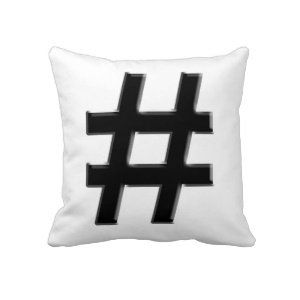 #HASHTAG - Hash Tag Symbol Throw Pillow from Zazzle.com