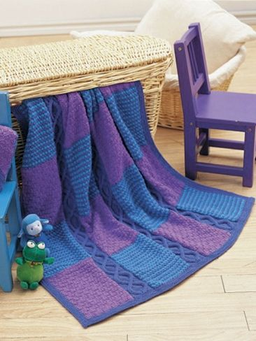 Cables and Checks Blanket and Pillow | Yarn | Free Knitting Patterns | Crochet Patterns | Yarnspirations