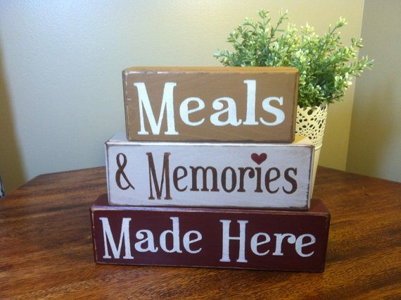 Primitive Wood Blocks Shelf Sitters Meals And Memories Made Here Rustic  Country Home Decor