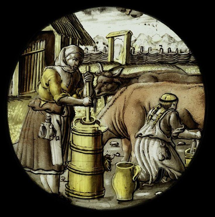 """""""April,"""" stained glass, c. 1530-40, Nuremberg. Hirsvogel workshop on designs by Hans Sebald Beham"""