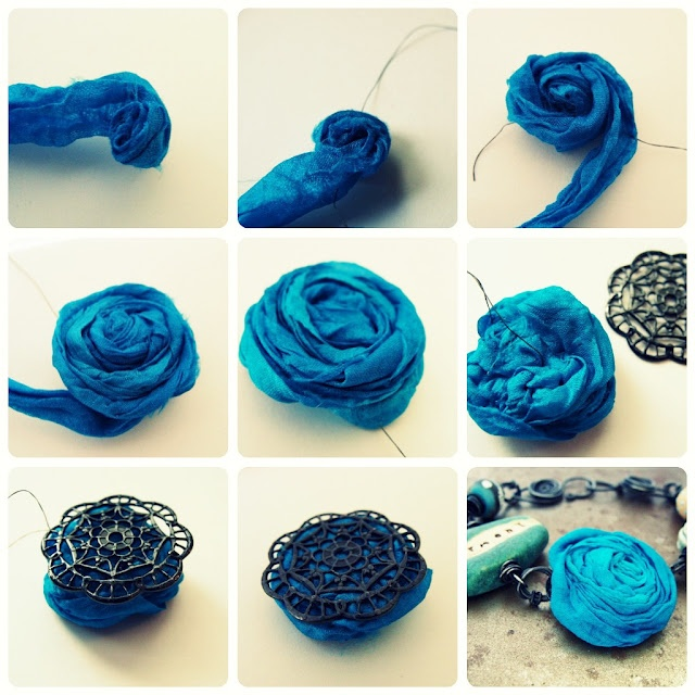Easy ribbon rosette tutorial for adding to jewelry