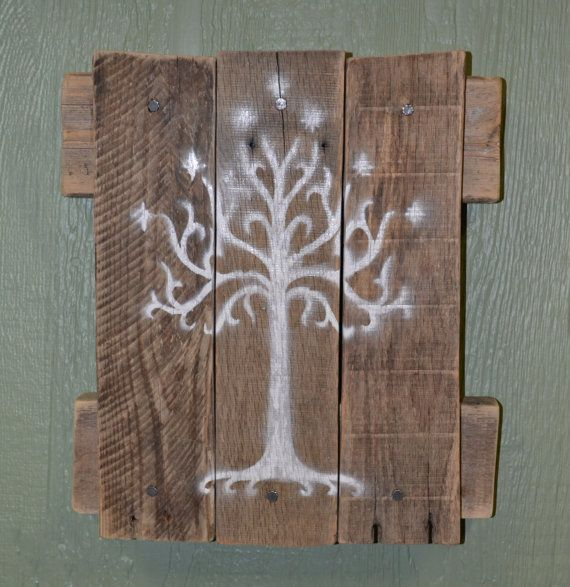 White Tree of Gondor Wall Hanging Lord of the by SnarlingBunny. lotr, rohan, aragorn, nerd, nerdy, gift, present, idea, ideas, hobbit, elf, zelda, reclaimed, wood, decoration, beautiful, majestic, d ring, ready to hang, christmas