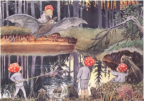Tomtebobarnen    Mushroom Children and Friends - Bat Frogs  Artist: Elsa Beskow  From the book Children of the Forest